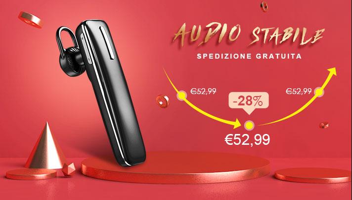 Auricolare Bluetooth Cuffia Stereo Senza Fili Sport Corsa H49 Nero