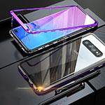 Custodia Lusso Alluminio Laterale Specchio Cover per Samsung Galaxy S10 Viola