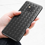 Custodia Silicone Morbida Spigato B02 per Huawei Mate 20 Pro Nero