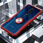 Custodia Silicone Trasparente Specchio Laterale 360 Dradi con Magnetico Anello Supporto per OnePlus 7 Pro Rosso