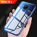Custodia Silicone Trasparente Ultra Sottile Morbida T07 per Huawei Mate 20 X Blu