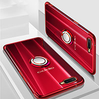 Custodia Silicone Trasparente Ultra Slim Cover Morbida con Magnetico Anello Supporto S01 per Oppo R17 Neo Rosso