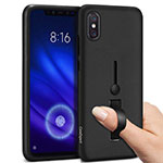 Custodia Silicone e Plastica Opaca Cover con Anello Supporto per Xiaomi Mi 8 Pro Global Version Nero