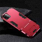 Custodia Silicone e Plastica Opaca Cover con Supporto R02 per Apple iPhone 11 Pro Rosso