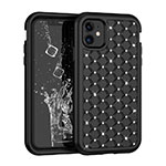 Custodia Silicone e Plastica Opaca Cover Fronte e Retro 360 Gradi Bling-Bling U01 per Apple iPhone 11 Nero