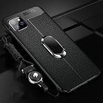 Custodia Silicone Morbida In Pelle Cover con Magnetico Anello Supporto T04 per Apple iPhone 11 Pro Nero