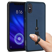 Custodia Silicone e Plastica Opaca Cover con Anello Supporto per Xiaomi Mi 8 Pro Global Version Blu