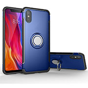Custodia Silicone e Plastica Opaca Cover con Magnetico Anello Supporto per Xiaomi Mi 8 Pro Global Version Blu