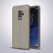 Custodia Silicone Morbida In Pelle Cover S01 per Samsung Galaxy S9 Plus Grigio