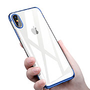 Custodia Silicone Trasparente Ultra Sottile Morbida C16 per Apple iPhone Xs Max Blu