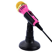 Microfono Mini Stereo Karaoke 3.5mm con Supporto M07 Rosa