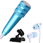 Microfono Mini Stereo Karaoke 3.5mm con Supporto M08 Blu