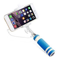 Bastoni Selfie Stick Asta Estensibile Cablato Universale S01 per Huawei Y7 Prime Cielo Blu