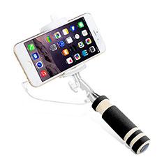 Bastoni Selfie Stick Asta Estensibile Cablato Universale S01 per Huawei Y7 Prime Nero