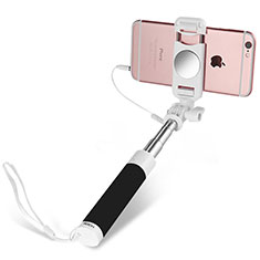 Bastoni Selfie Stick Asta Estensibile Cablato Universale S02 per Huawei Y7 Prime Nero
