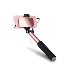 Bastoni Selfie Stick Asta Estensibile Cablato Universale S03 per Huawei Y7 Prime Oro Rosa