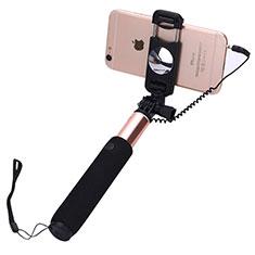 Bastoni Selfie Stick Asta Estensibile Cablato Universale S04 per Huawei Y7 Prime Oro Rosa