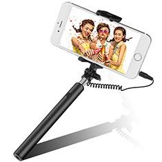 Bastoni Selfie Stick Asta Estensibile Cablato Universale S06 per Huawei Y7 Prime Nero