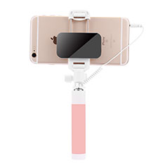 Bastoni Selfie Stick Asta Estensibile Cablato Universale S07 per Huawei Y7 Prime Rosa