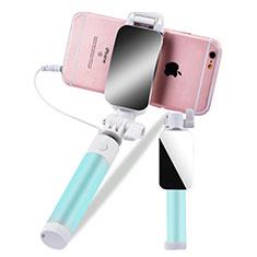 Bastoni Selfie Stick Asta Estensibile Cablato Universale S12 per Huawei Y7 Prime Verde