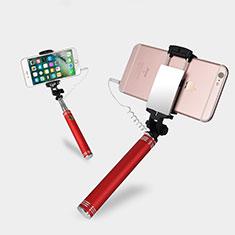 Bastoni Selfie Stick Asta Estensibile Cablato Universale S20 per Huawei Y7 Prime Rosso