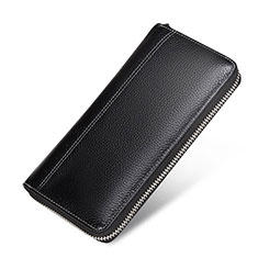 Borsetta Pochette Custodia In Pelle Lichee Pattern Universale H36 per Apple iPhone 11 Pro Nero