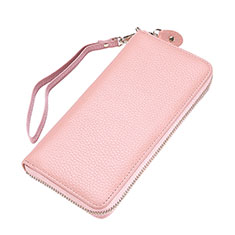 Borsetta Pochette Custodia In Pelle Lichee Pattern Universale per Apple iPhone 11 Pro Rosa