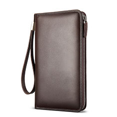 Borsetta Pochette Custodia In Pelle Universale H19 per Apple iPhone 11 Pro Marrone