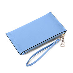 Borsetta Pochette Custodia In Pelle Universale K15 per Apple iPhone Xs Blu