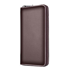 Borsetta Pochette Custodia In Pelle Universale K18 per Apple iPhone 12 Pro Marrone