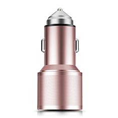 Caricabatteria da Auto Doppia Porta Adattatore 3.0A Universale K01 per Samsung Galaxy M21s Oro Rosa