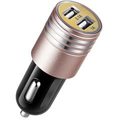 Caricabatteria da Auto Doppia Porta Adattatore 3.1A Universale U04 per Samsung Galaxy M21s Rosa