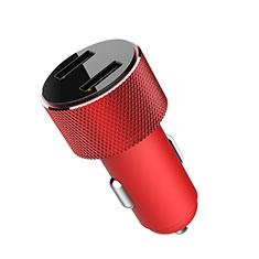 Caricabatteria da Auto Doppia Porta Adattatore 3.4A Universale K05 per Samsung Galaxy M21s Rosso