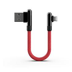 Cavo da USB a Cavetto Ricarica Carica 20cm S02 per Apple iPhone 12 Pro Rosso