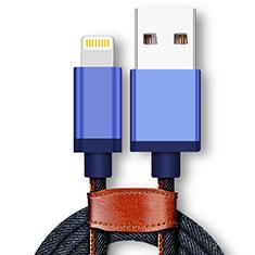 Cavo da USB a Cavetto Ricarica Carica D01 per Apple iPhone 12 Pro Blu