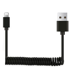 Cavo da USB a Cavetto Ricarica Carica D08 per Apple iPhone 12 Pro Max Nero