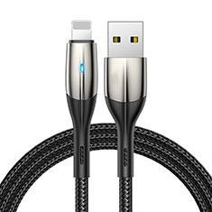 Cavo da USB a Cavetto Ricarica Carica D09 per Apple iPhone 12 Pro Max Nero