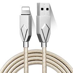Cavo da USB a Cavetto Ricarica Carica D13 per Apple iPhone 12 Pro Max Argento