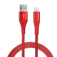 Cavo da USB a Cavetto Ricarica Carica D14 per Apple iPhone 11 Pro Rosso