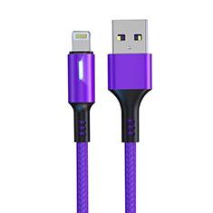 Cavo da USB a Cavetto Ricarica Carica D21 per Apple iPhone 12 Viola