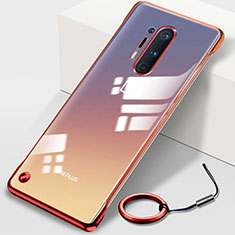 Cover Crystal Trasparente Rigida Cover H01 per OnePlus 8 Pro Rosso