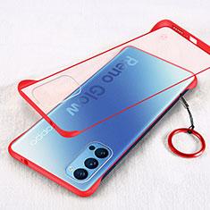 Cover Crystal Trasparente Rigida Cover H01 per Oppo Reno4 5G Rosso