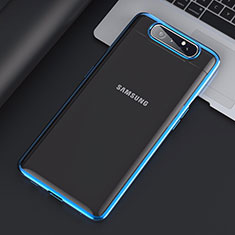 Cover Crystal Trasparente Rigida Cover H01 per Samsung Galaxy A80 Blu