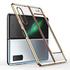 Cover Crystal Trasparente Rigida Cover H01 per Samsung Galaxy Fold Oro