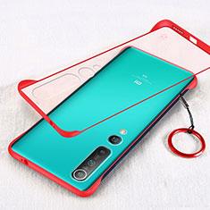 Cover Crystal Trasparente Rigida Cover H01 per Xiaomi Mi 10 Rosso
