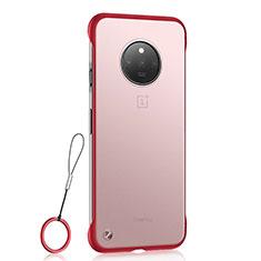 Cover Crystal Trasparente Rigida Cover S01 per OnePlus 7T Rosso