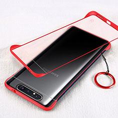 Cover Crystal Trasparente Rigida Cover S01 per Samsung Galaxy A80 Rosso