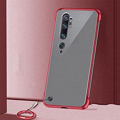 Cover Crystal Trasparente Rigida Cover S02 per Xiaomi Mi Note 10 Rosso