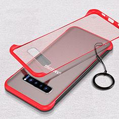 Cover Crystal Trasparente Rigida Cover S05 per Samsung Galaxy S10 Plus Rosso
