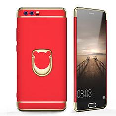 Cover Lusso Metallo Laterale e Plastica con Anello Supporto per Huawei Honor 9 Rosso